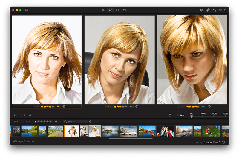 Manage photos on Mac. Compare faces in multiple photos in Photo Sense.