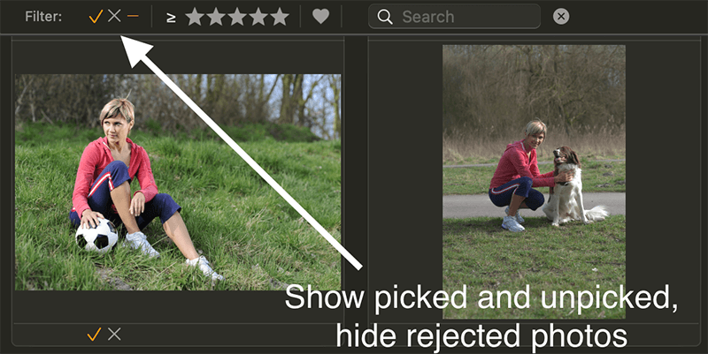 Manage photos on Mac. Filter picked and rejected photos in Photo Sense.