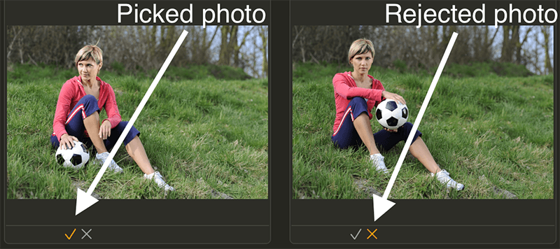 Manage photos on Mac. Flag photos as picked or rejected in Photo Sense.