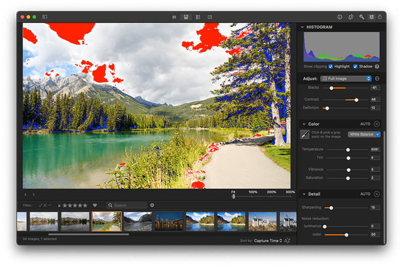 Edit photos on Mac with Photo Sense: Show clipping overlays to evaluate the image exposure