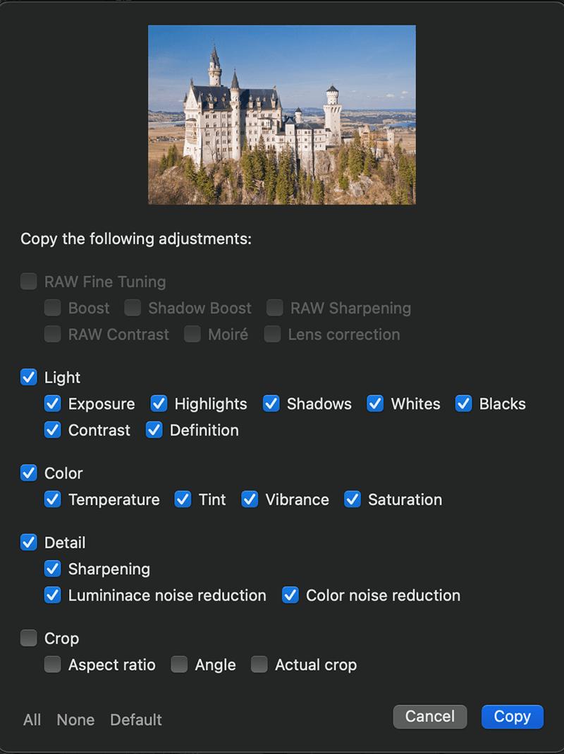 Copy photo editing settings on Mac in Photo Sense
