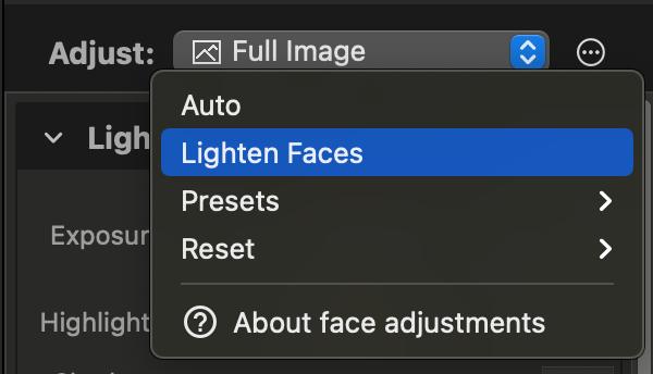 Edit photos on Mac: Lighten Faces in Photo Sense